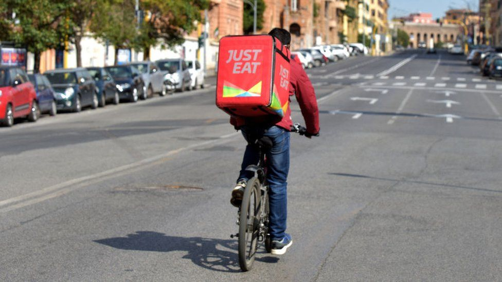 Just Eat delivery person on bike