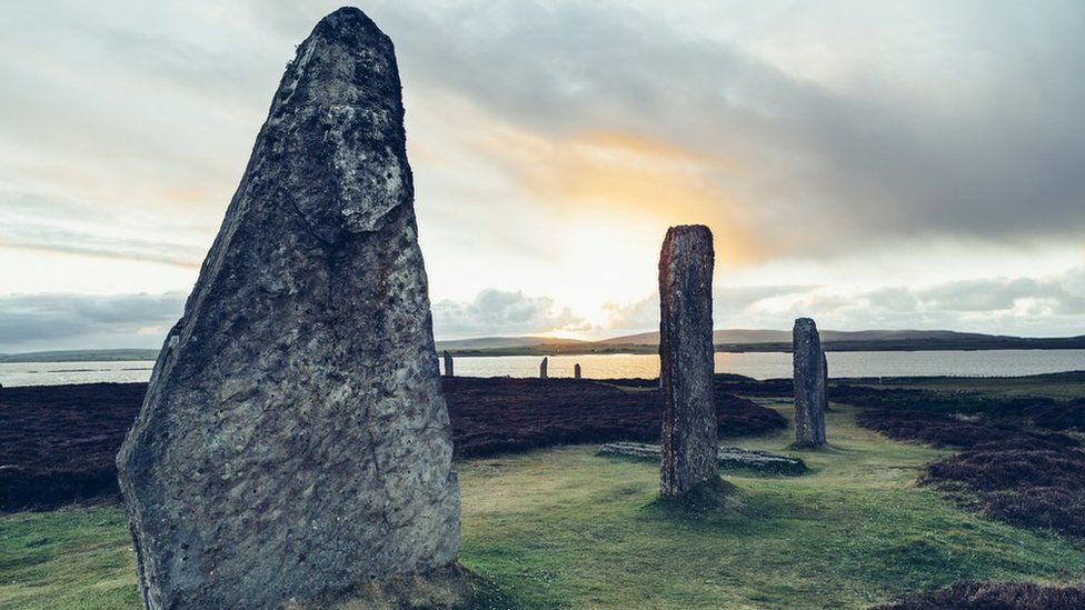 Graffiti scrawled on Ring of Brodgar standing stone in Orkney
