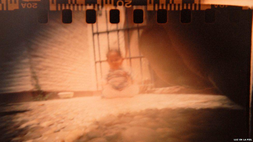 A pinhole photograph of a toddler
