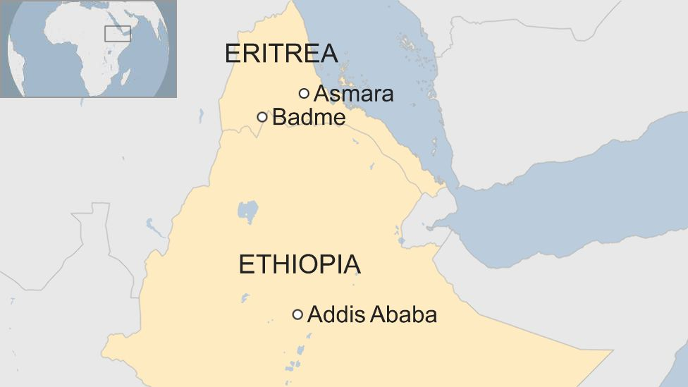 A map showing Ethiopia and Eritrea