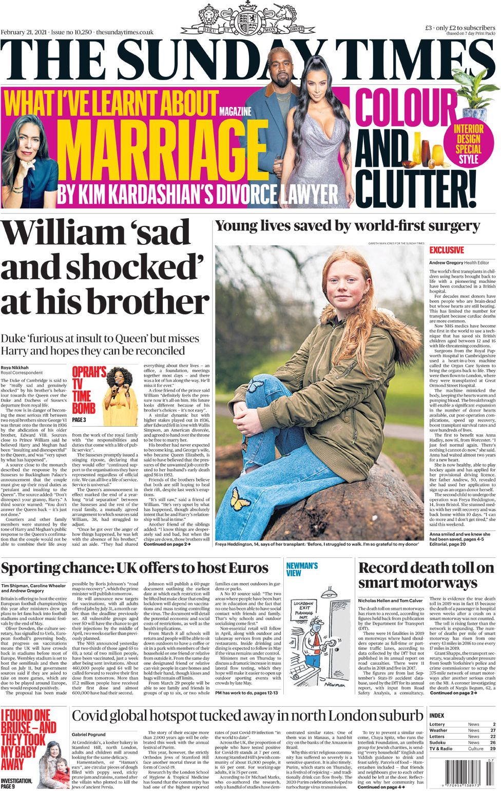 The Sunday Times front page 21 February 2021
