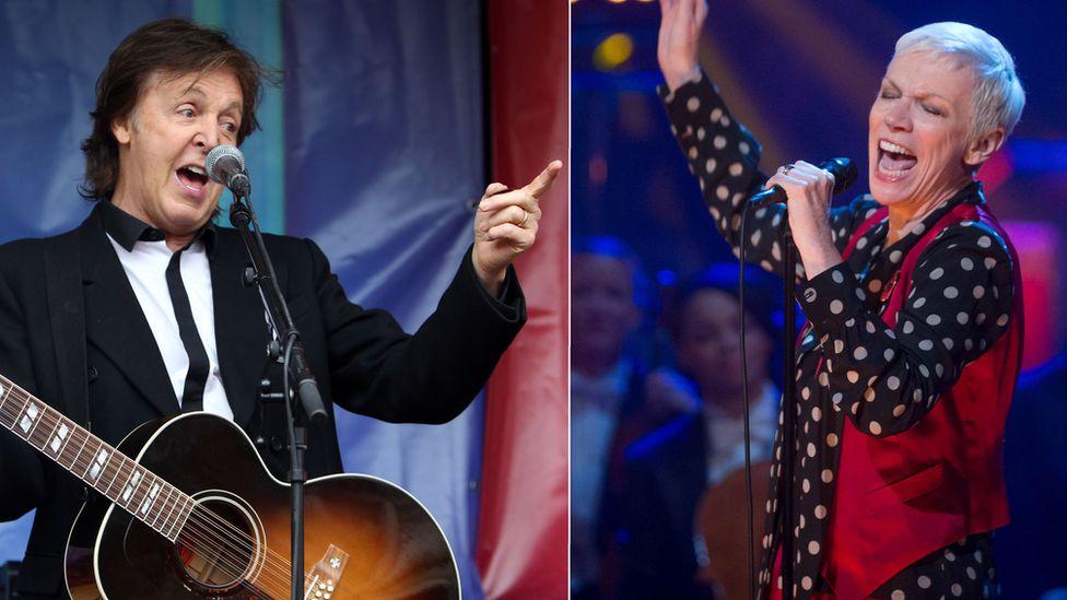 Paul McCartney and Annie Lennox