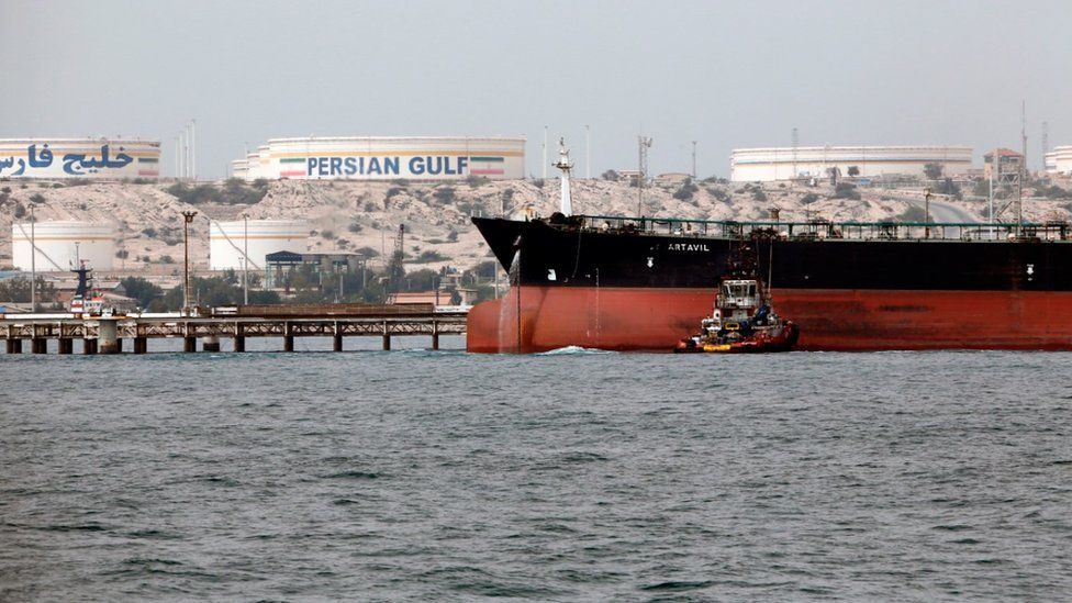 An oil tanker docking at Iran's Port of Kharg Island oil terminal