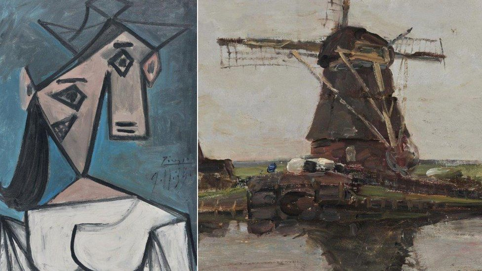 Collage of Picasso Woman's Head and 1905 Mondrian painting