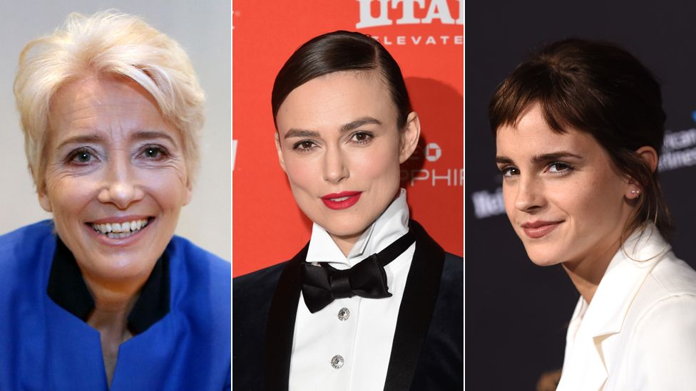 From left to right, Emma Thompson, Keira Knightley and Emma Watson
