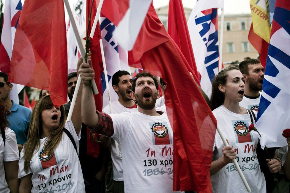 Greek rally against austerity in Athens, 8 May 16