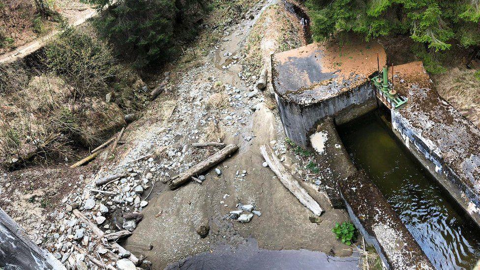 River Valsan running dry