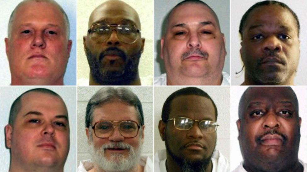 The condemned, left to right from top, are: Don Davis, Stacey Johnson, Jack Jones and Ledell Lee; left to right, bottom: Jason McGehee, Bruce Ward, Kenneth Williams and Marcel Williams