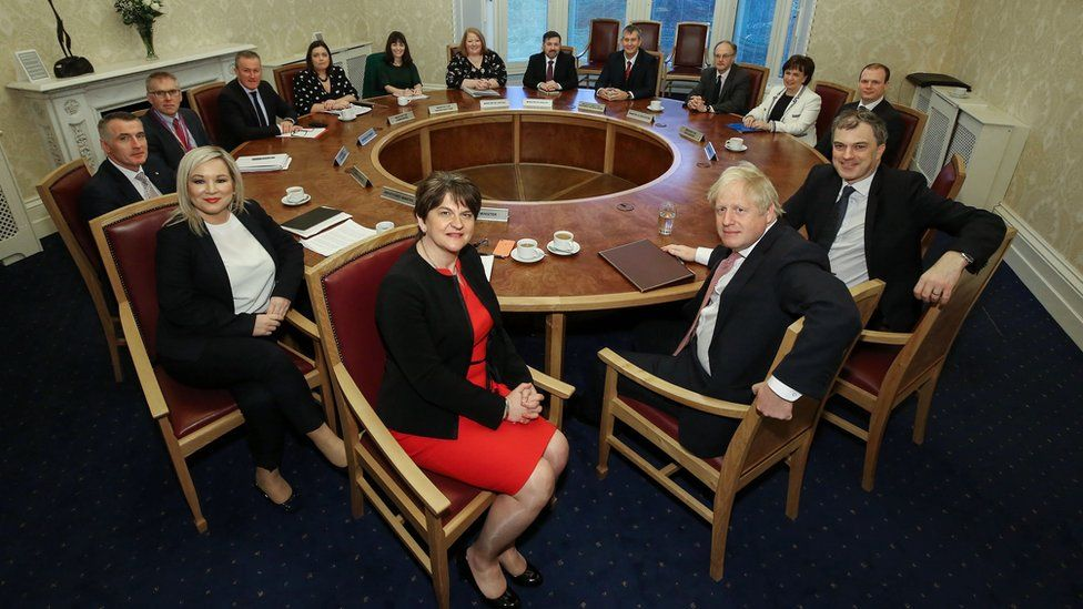 Prime Minister Boris Johnson meeting the new executive ministers at Stormont Castle