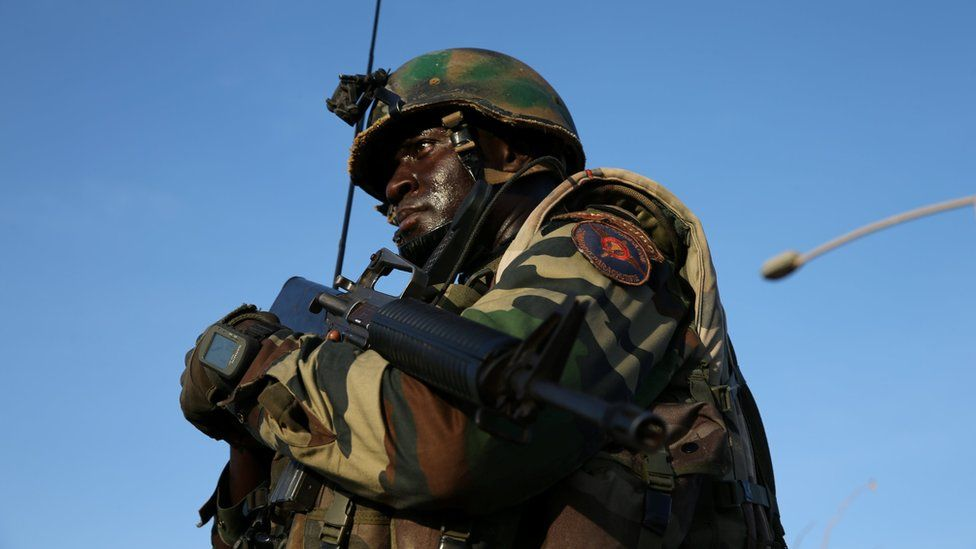 A member of the ECOWAS regional force is seen at Denton check point in Banjul, Gambia on 22 January