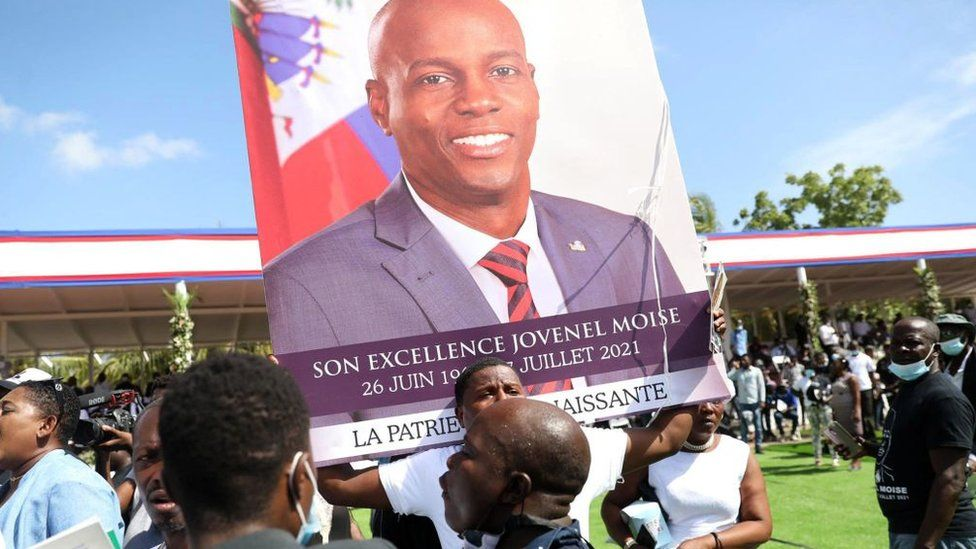 Mourners attend the funeral of slain Haitian President Jovenel Moïse on July 23, 2021, in Cap-Haitien, Haiti, the main city in his native northern region.