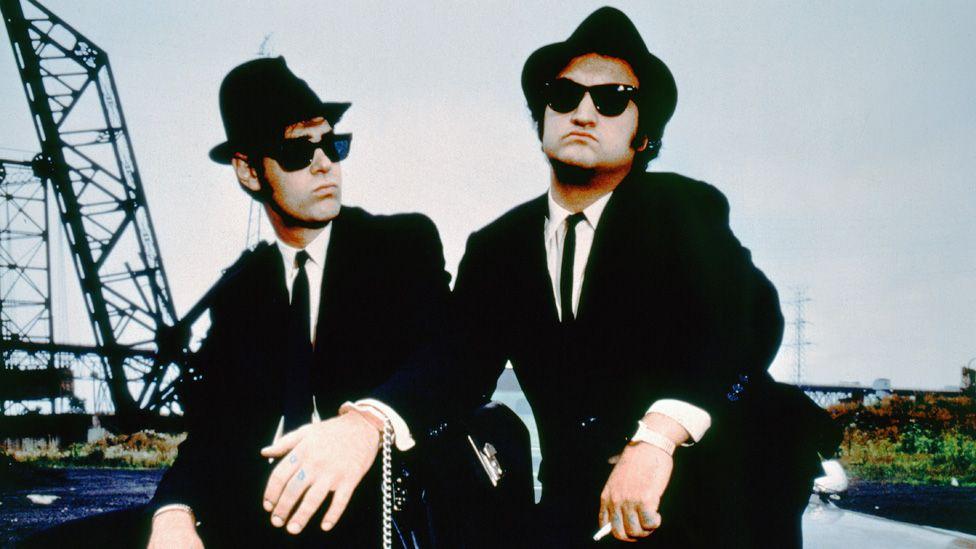 Dan Aykroyd and John Belushi on the set of The Blues Brothers