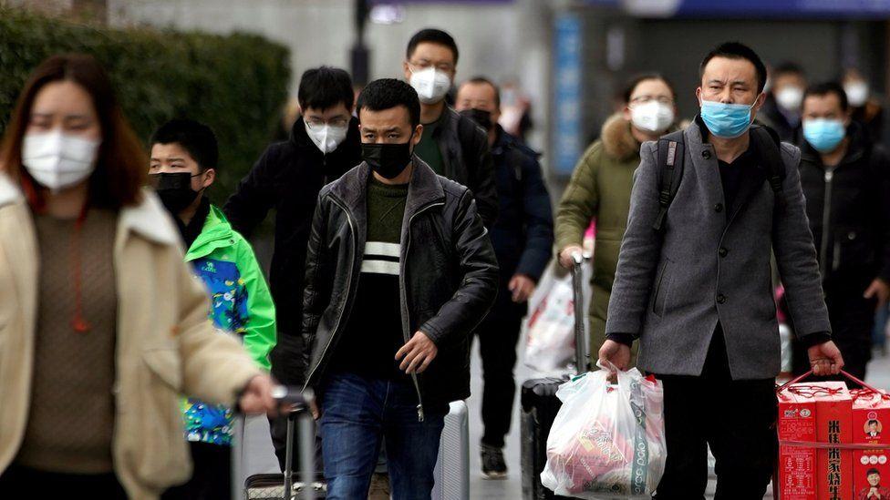 People wearing medical masks in Shanghai