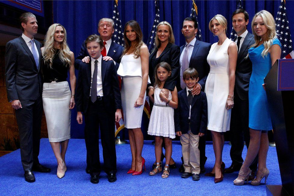 Donald Trump poses with his family after formally announcing his campaign for the 2016 Republican presidential nomination