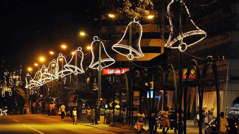 Abidjan with big christmas lights