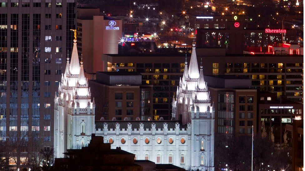 High Angle View of Temple of the Church of Jesus Christ of Latter-Day Saints Salt Lake City, Utah. Picture taken January 27, 2012.