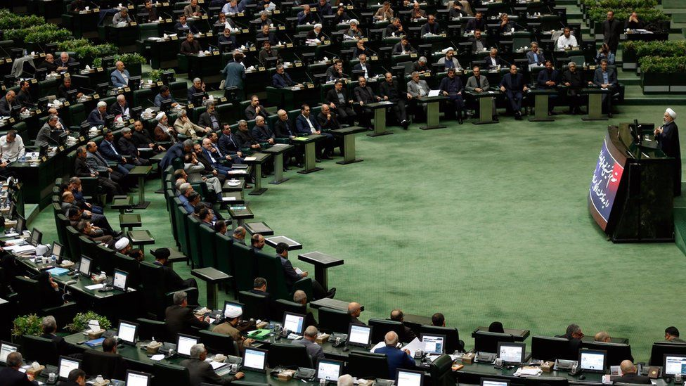 Iranian President Hassan Rouhani speaks at a session of parliament in Tehran, Iran (3 September 2019)