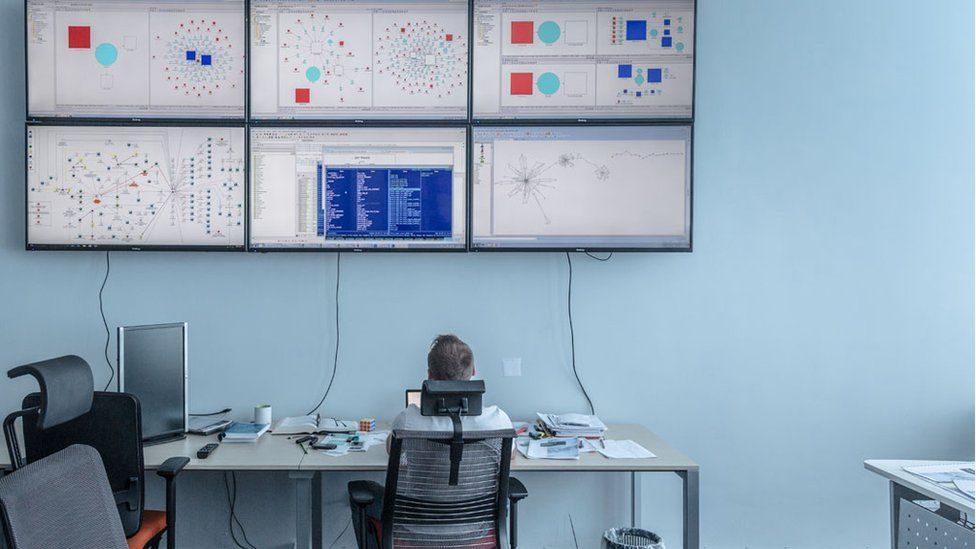 The systems control centre at the Kyiv, Ukraine office of International Systems Security Partners