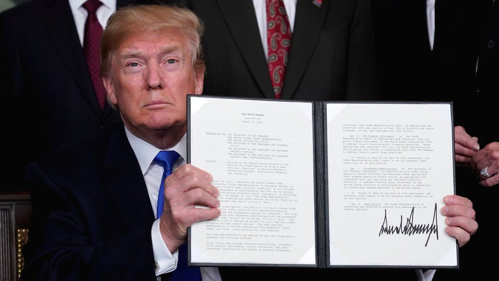 US President Donald Trump announces tariffs on goods from China at the White House in Washington, 22 March 2018