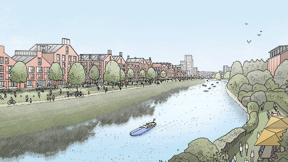 An artist's vision of how the riverside park could look