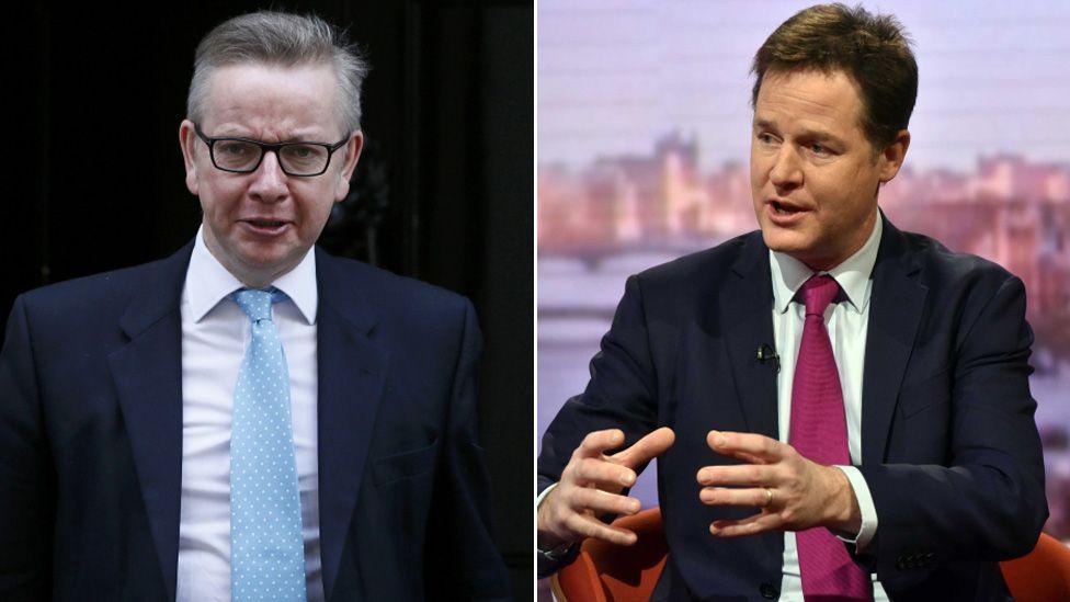 Michael Gove and Nick Clegg composite image