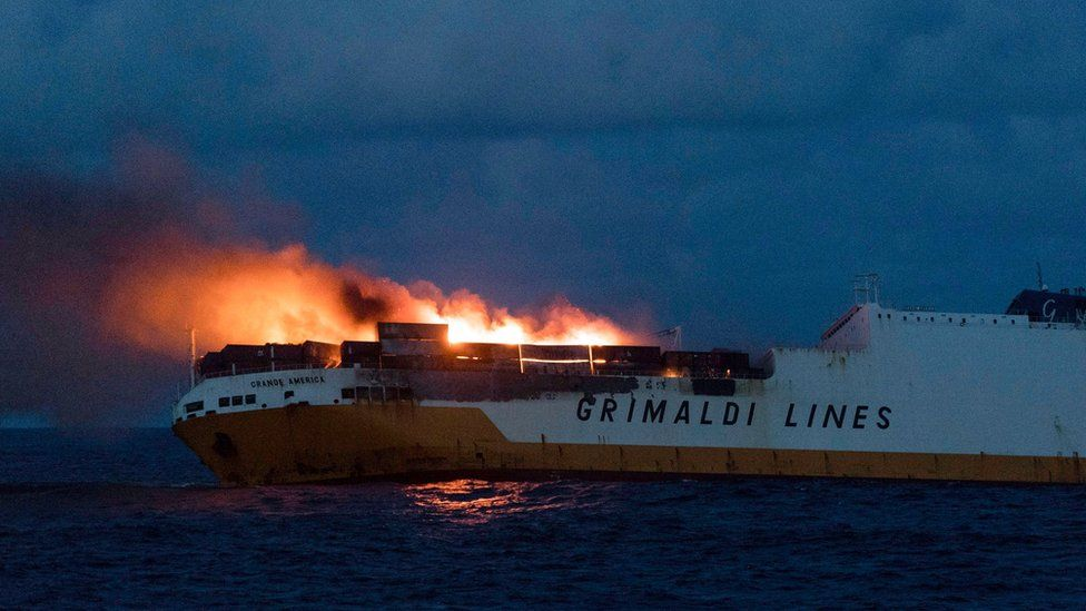 A handout picture released by the French Marine Nationale shows flames on the Italian merchant ship Grande America