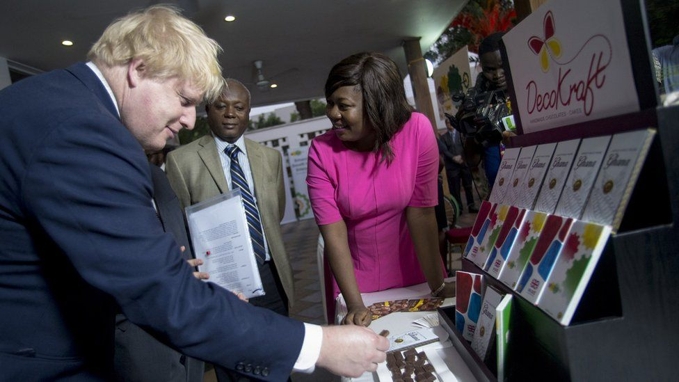 British Foreign Secretary Boris Johnson (L) meets with Ghanian businessmen at British Embassy in Accra,