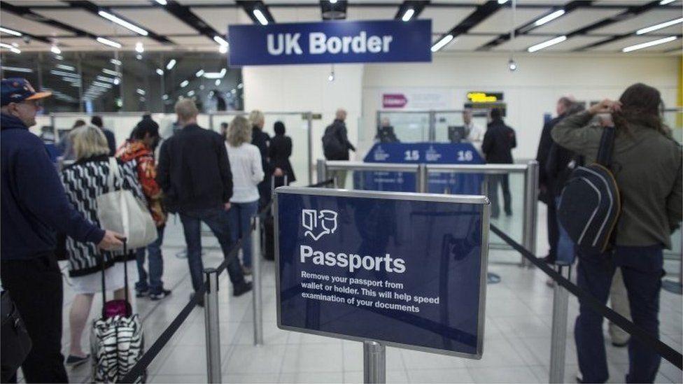 Passport sign at UK border