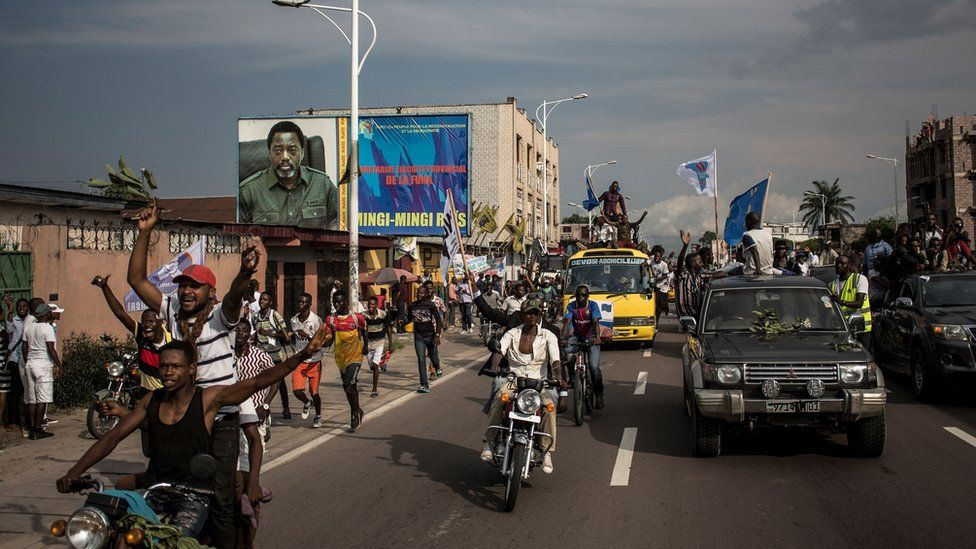 Fayulu supporters in the streets of the capital, Kinshasa