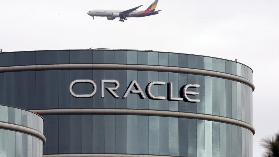 Plane flies over Oracle headquarters in Redwood City, California. 26 May 2016