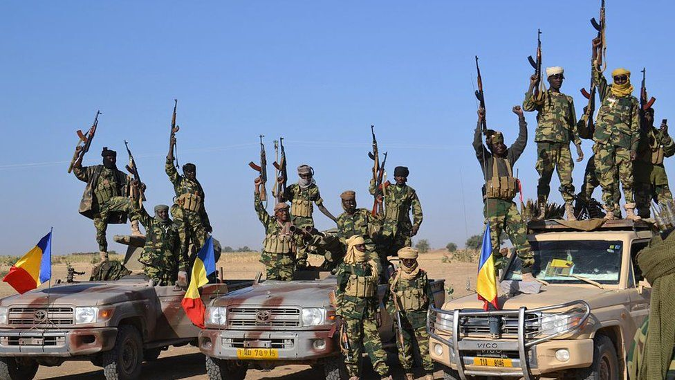 Chadian troops gather on February 1, 2015 near the Nigerian town of Gamboru, just across the border from Cameroon