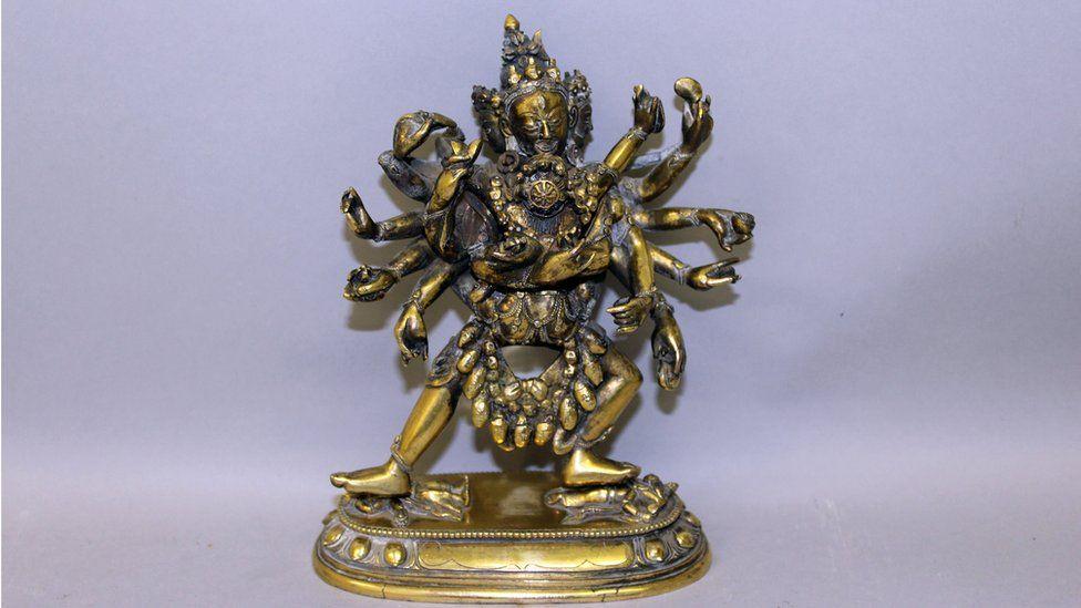 The 18th century Sino Tibetan, gilt-bronze sculpture of the multi-armed Hayagriva, a Tantric Buddhist deity.