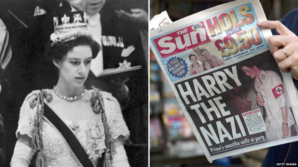 (L) Princess Margaret at her sister's coronation, where she was caught on camera with her married boyfriend; (R) Prince Harry's Nazi outfit made headlines in the UK