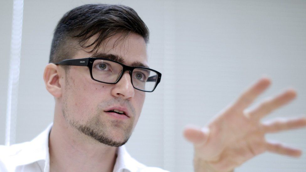 Leader of the Identitarian Movement (IBOe) far right group, Martin Sellner during a press conference in Vienna, Austria. May 23, 2014