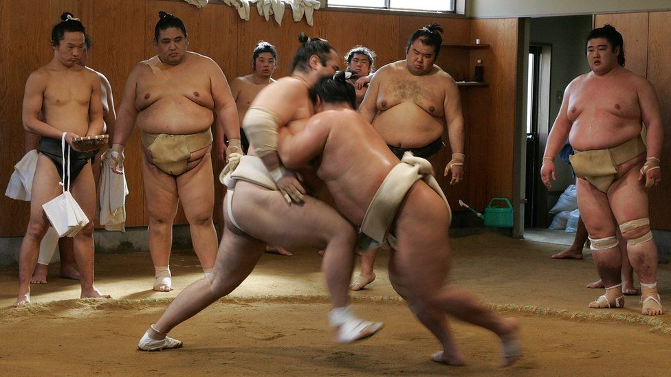 Sumo wrestlers take part in a training session at Musashigawa Sumo Stable on March 1, 2007 in Osaka, Japan