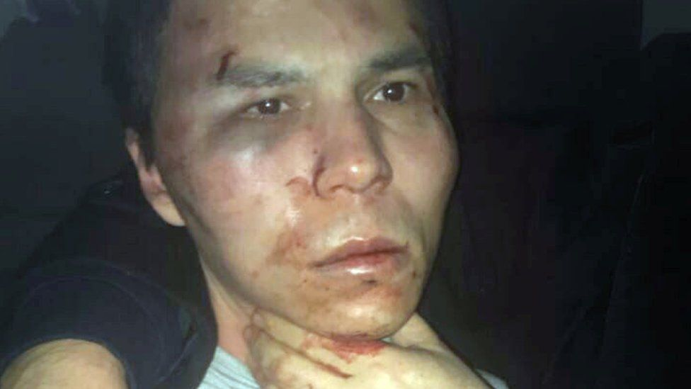 The alleged attacker of the Reina nightclub, Abdulgadir Masharipov, is seen after he was caught by Turkish police in Istanbul, 16 January 2017