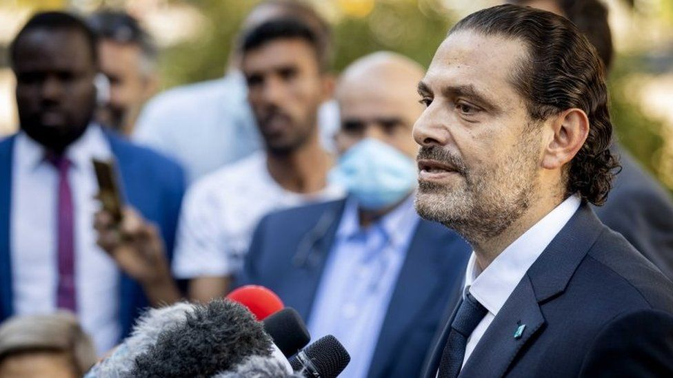 Saad Hariri speaks to reporters outside the Special Tribunal for Lebanon, in the Netherlands (18 August 2020)