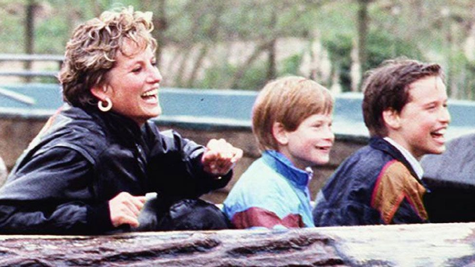 Diana, Princess of Wales, with Prince Harry and Prince William