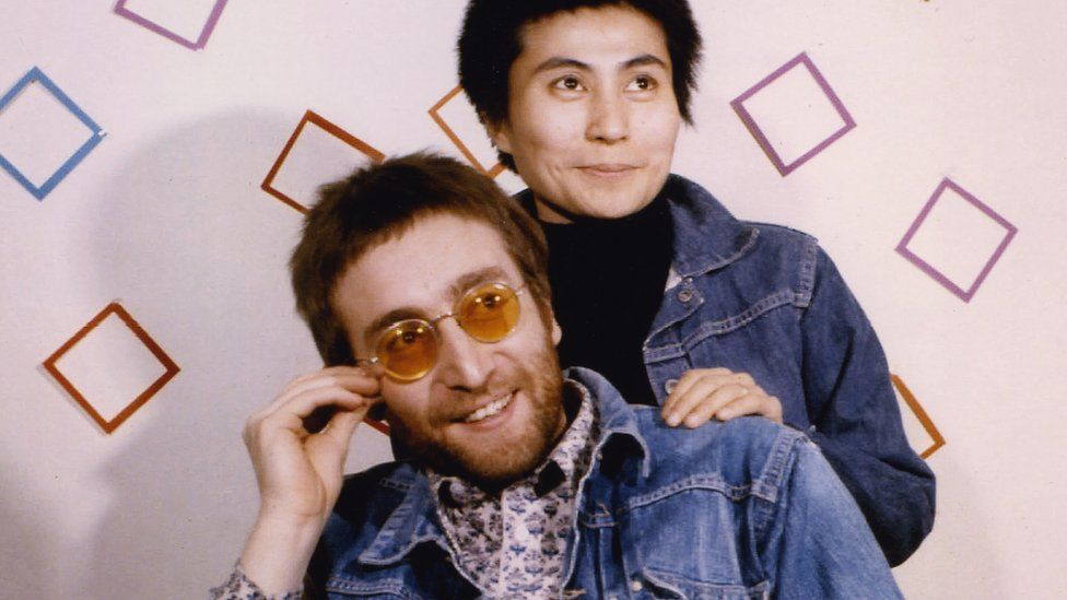 John Lennon and Yoko Ono pictured backstage at Top of the Pops in 1970