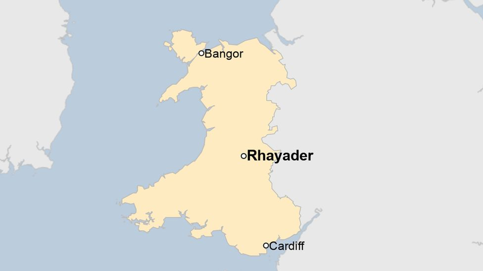A map showing the location of Rhayader