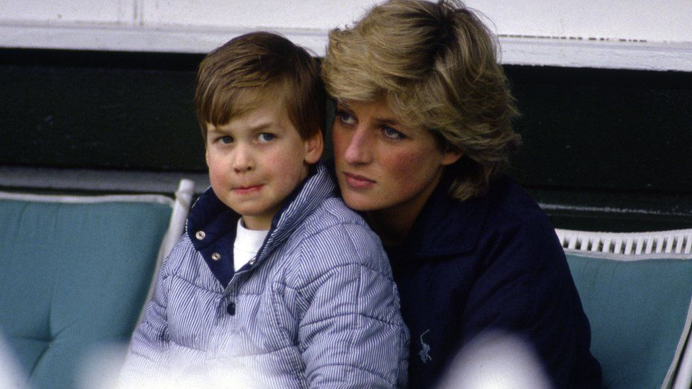 A young Prince William with his mother Princess Diana (circa 1987)