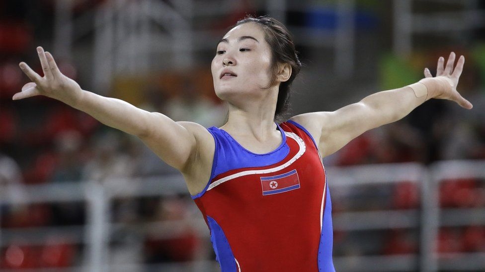 "North Korea""s Hong Un Jong performs on the balance beam during the artistic gymnastics women""s qualification at the 2016 Summer Olympics in Rio de Janeiro, Brazil, Sunday, Aug. 7, 2016."