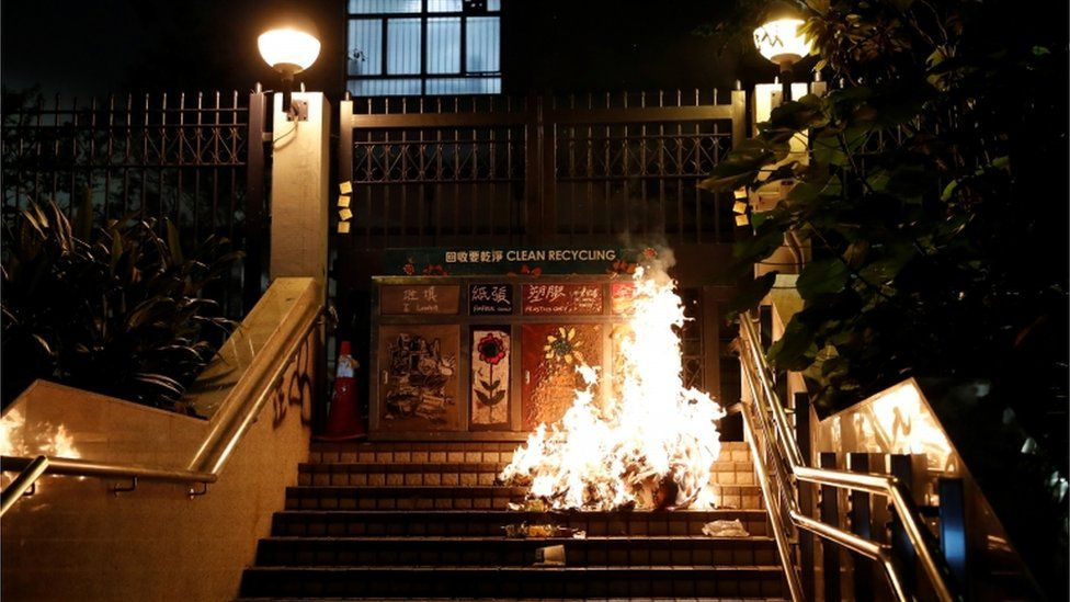 Fires set by activists outside a Hong Kong police station