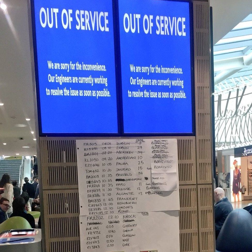 Out of order departure boards at Bristol Airport