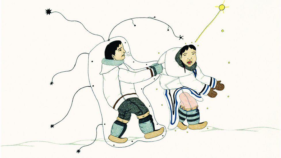 Annie Pootoogook, Man Pulling Woman, 2004 (detail)
