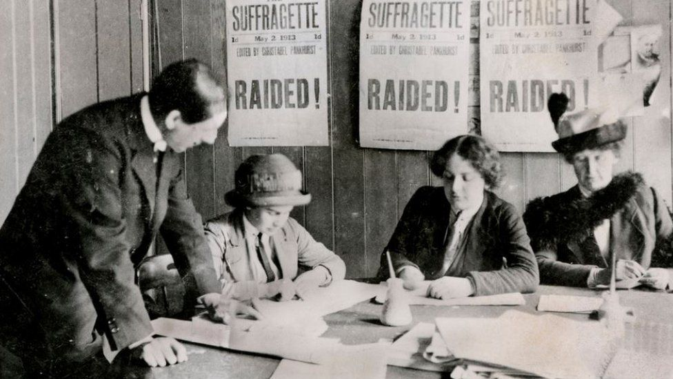A Woman's Social and Political Union (WSPU) office in 1913