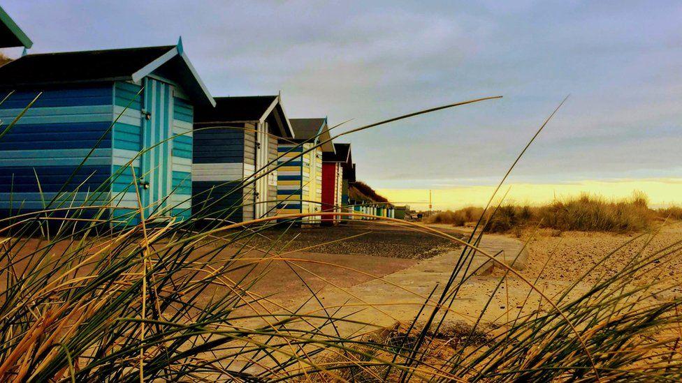 Beach huts in Lowestoft