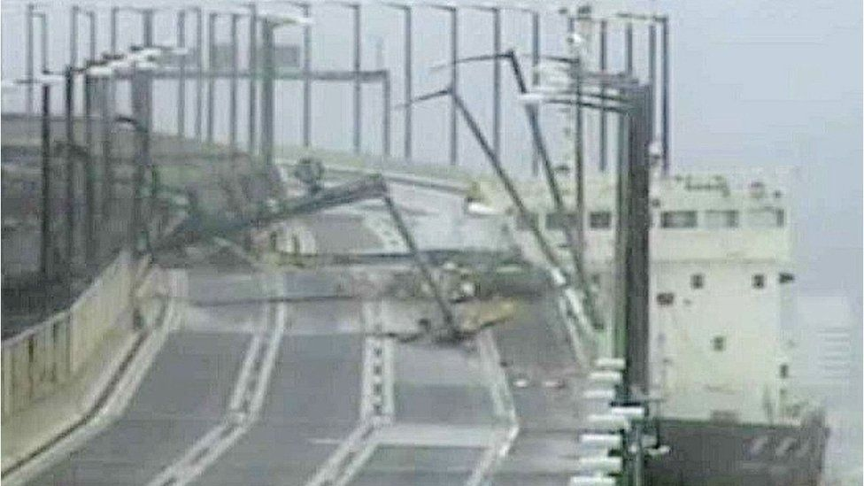 A tanker ship hit a bridge connecting the city of Izumisano with Kansai airport,