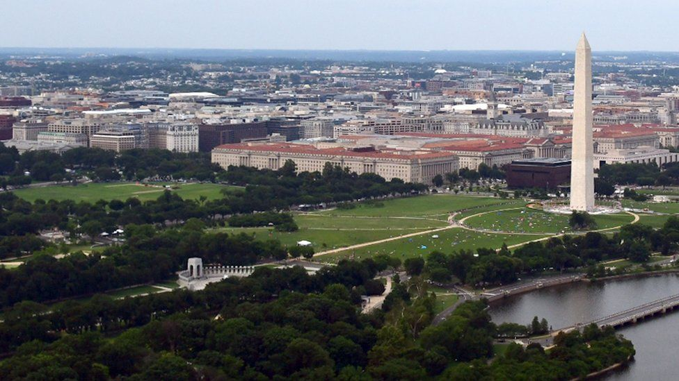 Washington DC's National Mall with the World War II Memorial (lower centre) and the Washington Monument (right). File photo