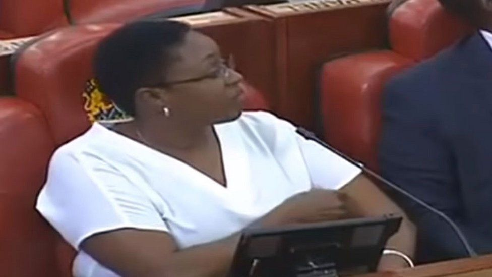 MP Sabina Chege with her blouse on